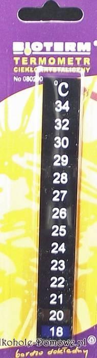 Termometr ciekłokrystaliczny - samoprzylepny, wskazuje temperaturę powierzchni do której jest przyklejony. Można go zastosować na pojemnikach fermentacyjnych, butelkach jak i balonach i akwariach.