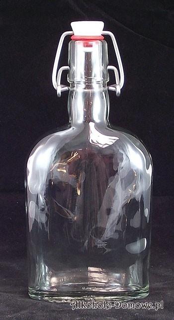 Idealna piersiówka o pojemności 350 ml, z grubego szkła, porcelanowe zamknięcie.