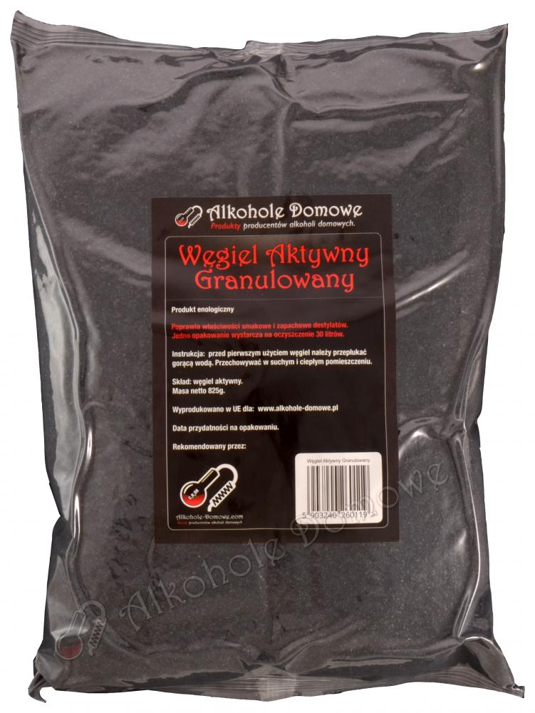 Aktywny węgiel granulowany do oczyszczania destylatów, wody, itp. Skutecznie usuwa niepożądane aromaty.