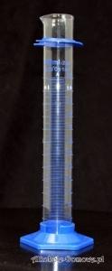 Cylinder szklany 250 ml z podstawą PP (niebieska)