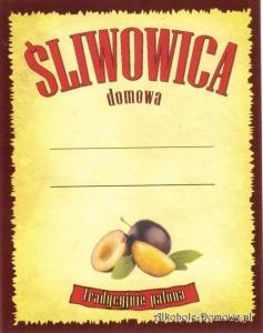 Etykieta do butelek Śliwowica Domowa (366) prostokątna