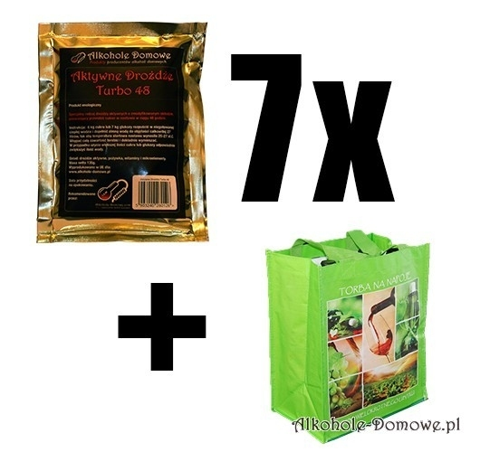 AD Aktywne Drożdże Turbo 48 - pakiet 7 sztuk + torba gratis